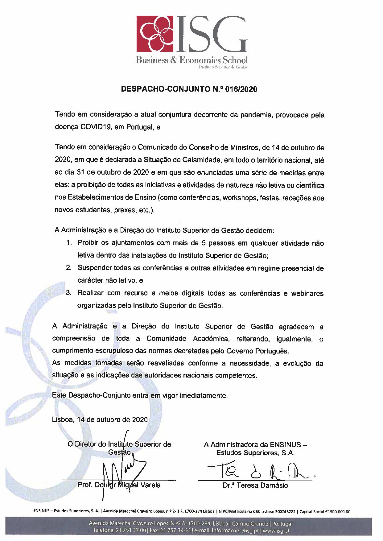 COMUNICADO ISG - 14.10.2020